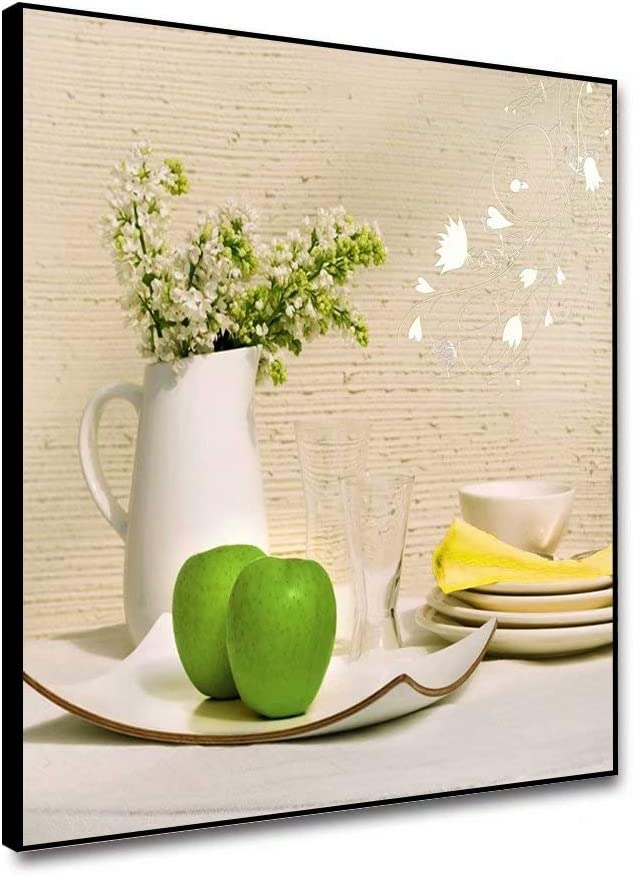 shensu Framed Canvas Wall Artwork Art Prints Kitchen Posters White Tableware Green Apple Plate Flowers Vase Wall Decor for Modern Dining Room Cafe Bar Restaurant Dining Room Home Decor 12x12inch