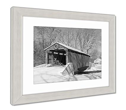 Amazon.com: Ashley Framed Prints Covered Bridge in Winter, Wall Art ...