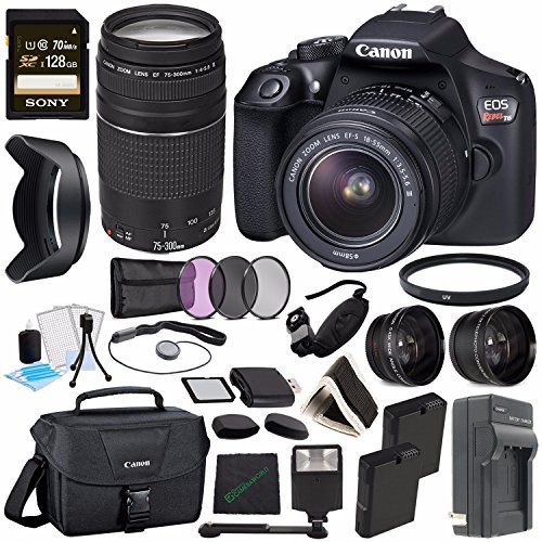 Canon EOS Rebel T6 DSLR Camera with 18-55mm Lens + Canon EF 75-300mm f/4-5.6 III Lens + Sony 128GB SDXC Card + Card Reader + Rechargable Li-Ion Battery + Charger + Flash + Memory Card Wallet Bundle
