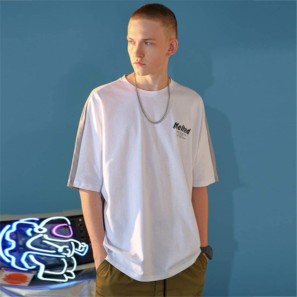 Camiseta Holgada para Hombre Camisa de Manga Corta de algodón ...