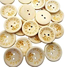 Pack of 100 Natural Butterfly Print Wooden Sewing Buttons Handmade DIY Craft with 2 Holes 25mm