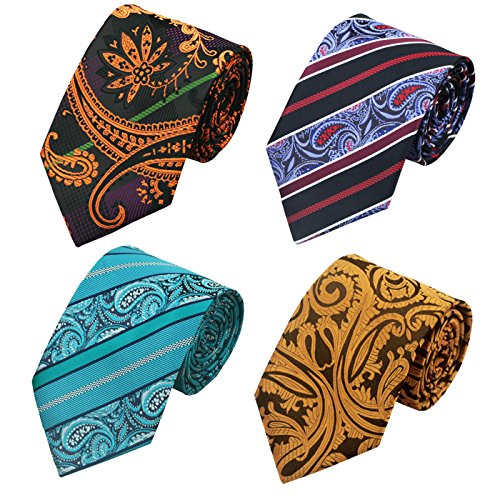 Men's Silk Tie Paisley Stripe Style Set Holiday Party Prom Wedding Woven Necktie