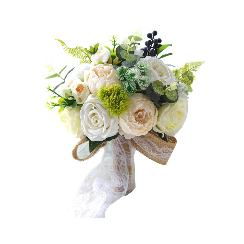 ウェディングブーケ 白 人工 結婚式用 手作り シルククロス ビンテージ ブライズメイド ウェディングブーケ ホワイト size B07RKMKQMZ カラー
