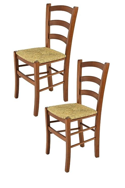 Modelli Di Sedie Per Cucina.Tommychairs Set 2 Sedie Modello Venice Per Cucina E Sala Da Pranzo Con Robusta Struttura In Legno Di Faggio Verniciata Color Noce E Con Seduta In