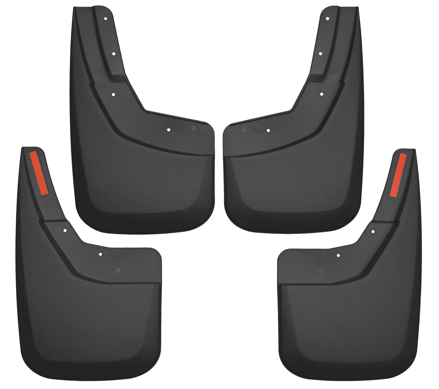 Husky Liners 56886 Black Front and Rear Custom Mud Guards Fits 14-18 1500, 15-19 2500/3500, 2019 Silverado Legacy 1500-Single Wheels, 4 Pack