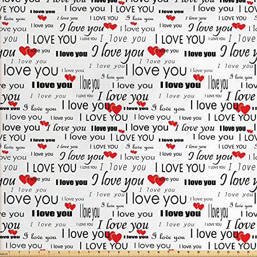 Ambesonne Romantic Fabric by The Yard, I Love You Quote with Hearts Romance Couple Valentine Plain Backdrop, Decorative Fabric for Upholstery and Home Accents, Vermilion Black White