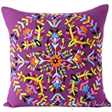 "EYES OF INDIA - 16"" Purple Embroidered Decorative Sofa Throw Pillow Cushion Cover Boho Bohemian Indian Bohemia"