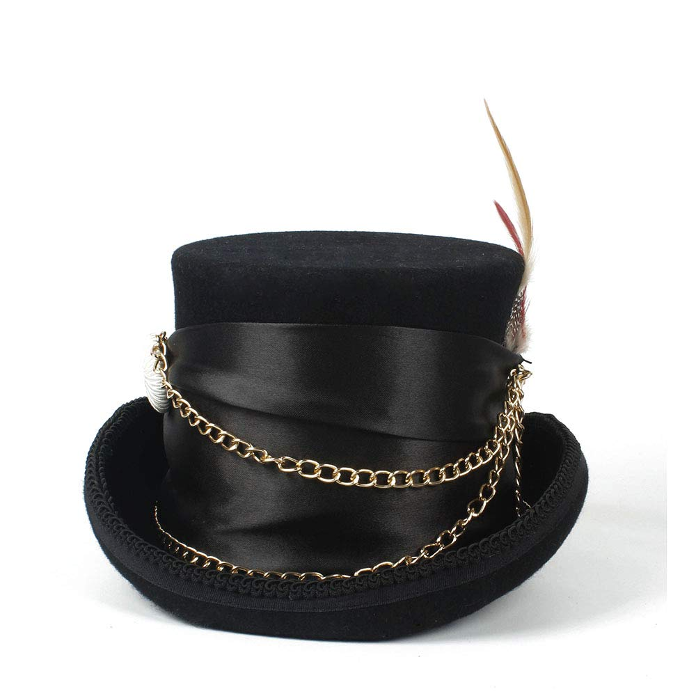 LL Women'sFeather Metal Chain Top Hat Ladies Wool Fedora Magician Party Hat 4Size S M L XL 13.5 cm (5.3 Inch) (Color : Black, Size : 61cm) by LL (Image #8)