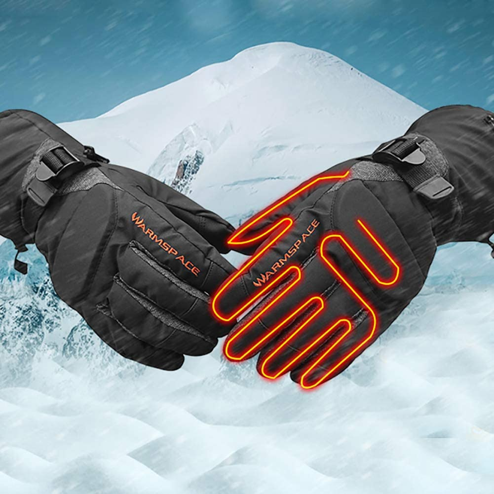 Maserfaliw Heating Gloves Warmspace Winter Electric Heated Outdoor Skiing Warm Unisex Full Finger Gloves Black M