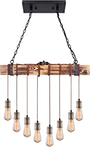 Pynsseu Industrial Kitchen Island Pendant Light with 8 E26 Bulb Sockets, Rustic Black and Brown Wood Hanging Pendant Lighting Fixture for Home Hanging Decor