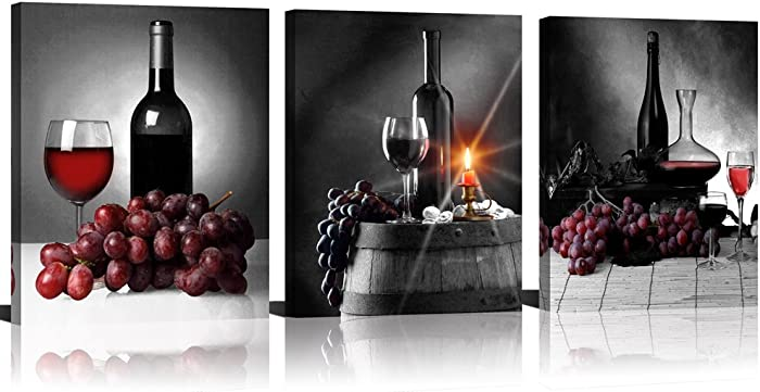 ModeArt 3 Panels Black Background Red Grapes Wine Bottles Fine Artworks Printed on Canvas for Dinning Room Wall Decor