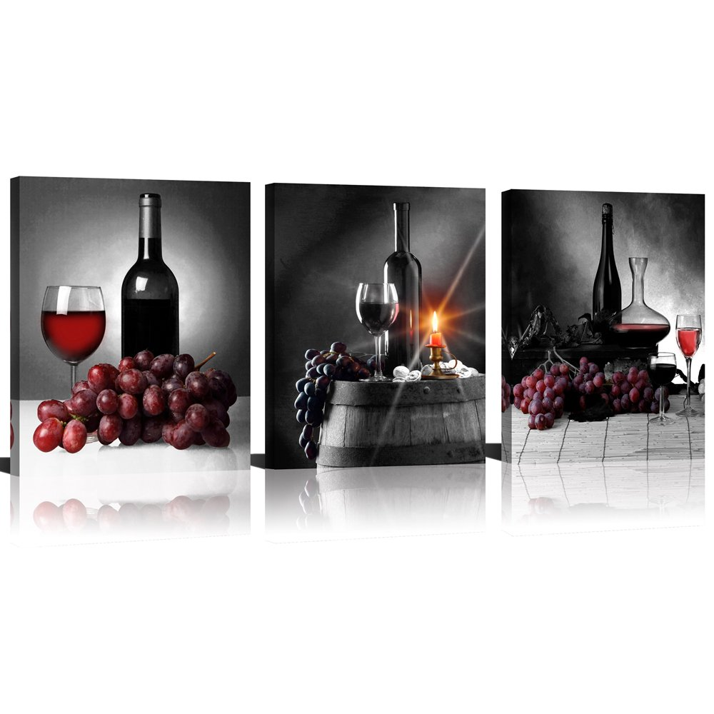 ModeArt 3 Panels Black Background Red Grapes Wine Bottles Fine Artworks Printed on Canvas for Dinning Room Wall Decor by Modeart