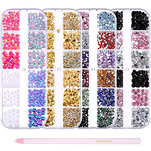 Bememo 4 Box Nail Art Rhinestones Kit with 1 Pack Pick Up Pencil Nail Gems Studs Pearls for Nail Art Decorations Supplies