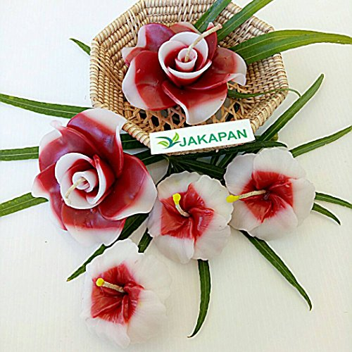 - Jakapan Floating Candle Flower Rose / Chaba Flower Gift Set ,Red Color - Great for Spa Parties , Wedding Spa Scented Floating Candles Home Garden Interia Decor