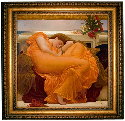 Leighton Flaming June 1895 - Gold Framed Canvas Print Reproduction 25.25 x 25.25 - Flaming June Framed Print