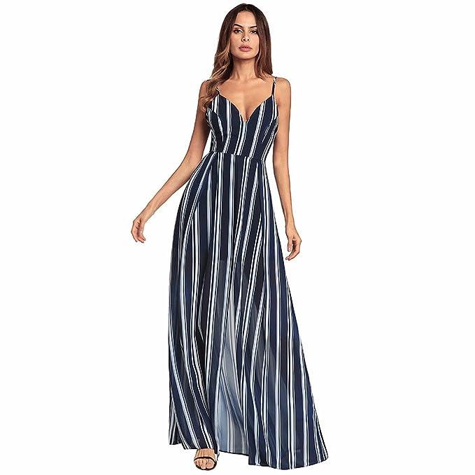 SJMMQZ Mujeres de primavera y verano abierto corbata rayas irregulares faldas  largas  Amazon.es  Ropa y accesorios 5beff1b235b2
