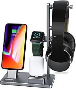 Charging Stand for Apple Watch, Savman 6 in 1 Watch Stand Replacement for Apple Watch Series 4 3 2 1 iWatch Charging Dock Station Stand Holder for iPhone Airpods Headphone (Silver)
