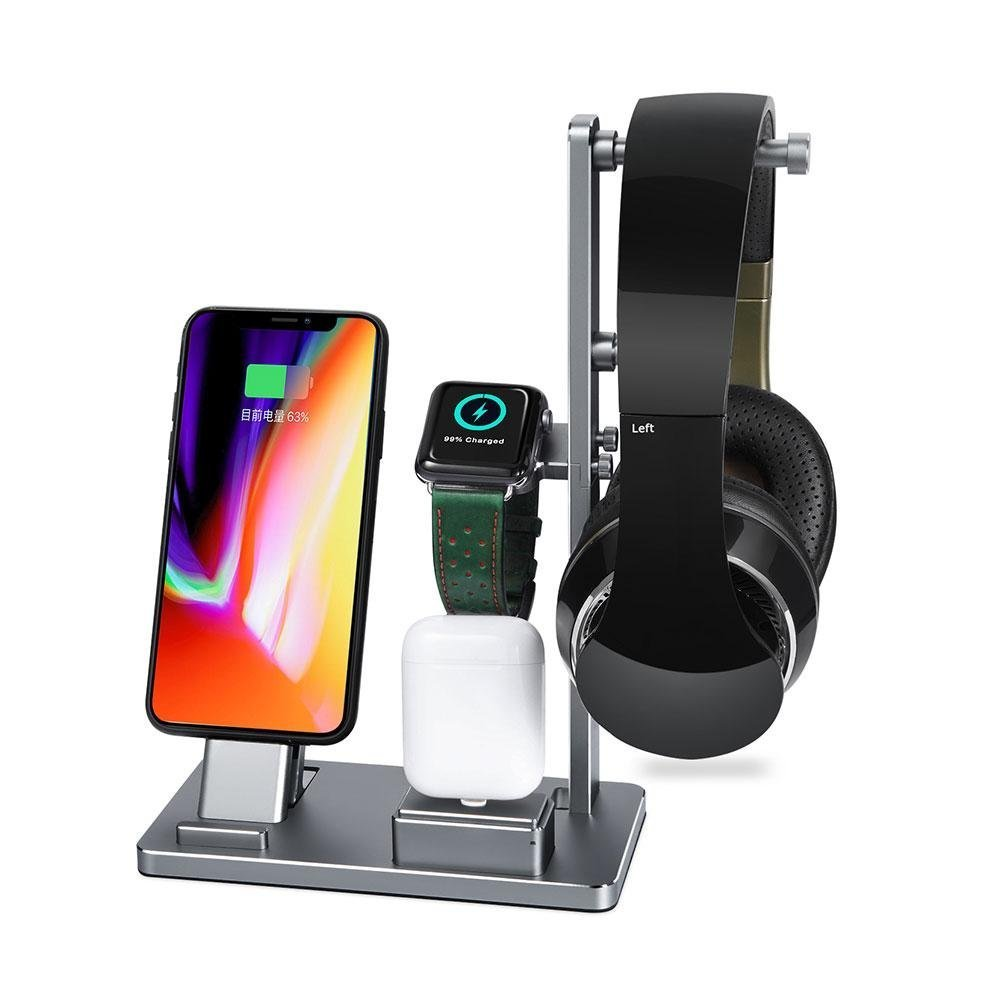 Charging Stand for Apple Watch, Savman 6 in 1 Watch Stand Replacement for Apple Watch Series 4 3 2 1 iWatch Charging Dock Station Stand Holder for iPhone Airpods Headphone (Silver) by Savman