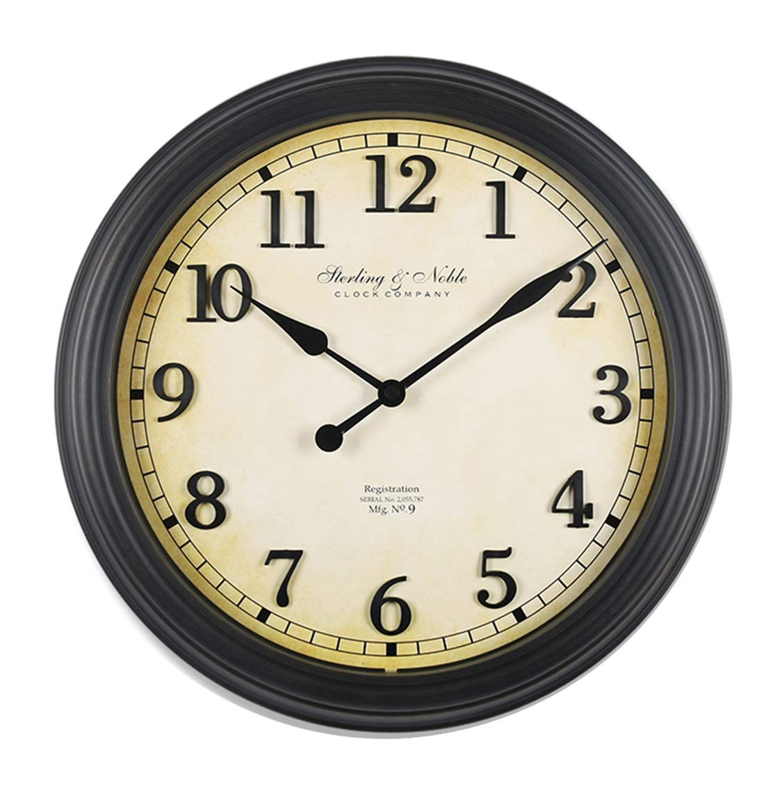 CLOCKZHJI Vintage Old Color Wall Clock, Silent Non Ticking Quality Quartz Battery Operated 16 Inch /39.5 cm Square Easy to Read Home/Office/School Clock by CLOCKZHJI