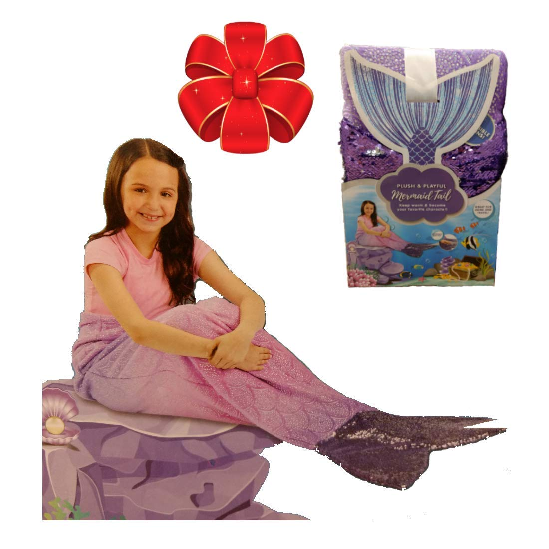 Plush and Playful Designs for Girls Plush and Playful Mermaid Tail Throw Blanket for Girls Colorful Sequins (Purple) Mermaid Throw