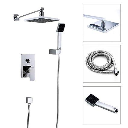 Bathroom Luxury Rain Mixer Shower Combo Set 8 Wall Mounted