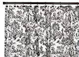 Black Toile Shower Curtain Victoria Park Toile Bathroom Shower Curtain, Black