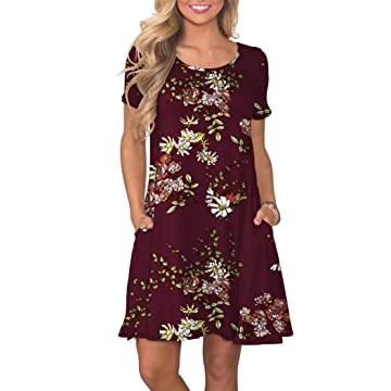 ac2605ae35d8 KORSIS Women's Summer Casual T Shirt Dresses Short Sleeve Swing Dress with  Pockets