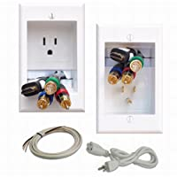 PowerBridge ONE-PRO-6 Single-Outlet Professional Grade Recessed In-Wall Cable Management System for Wall-Mounted Flat Screen LED, LCD, and Plasma TV's