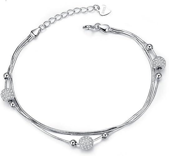 J.Vénus Pulsera Plata 925, hecha a mano, ajustable, elegante y hermosa, joyas con estuche (22.5cm): Amazon.es: Joyería