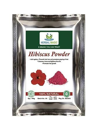 Organic Hibiscus Powder Pink Colour Shoe Flower Stops Natural Hair