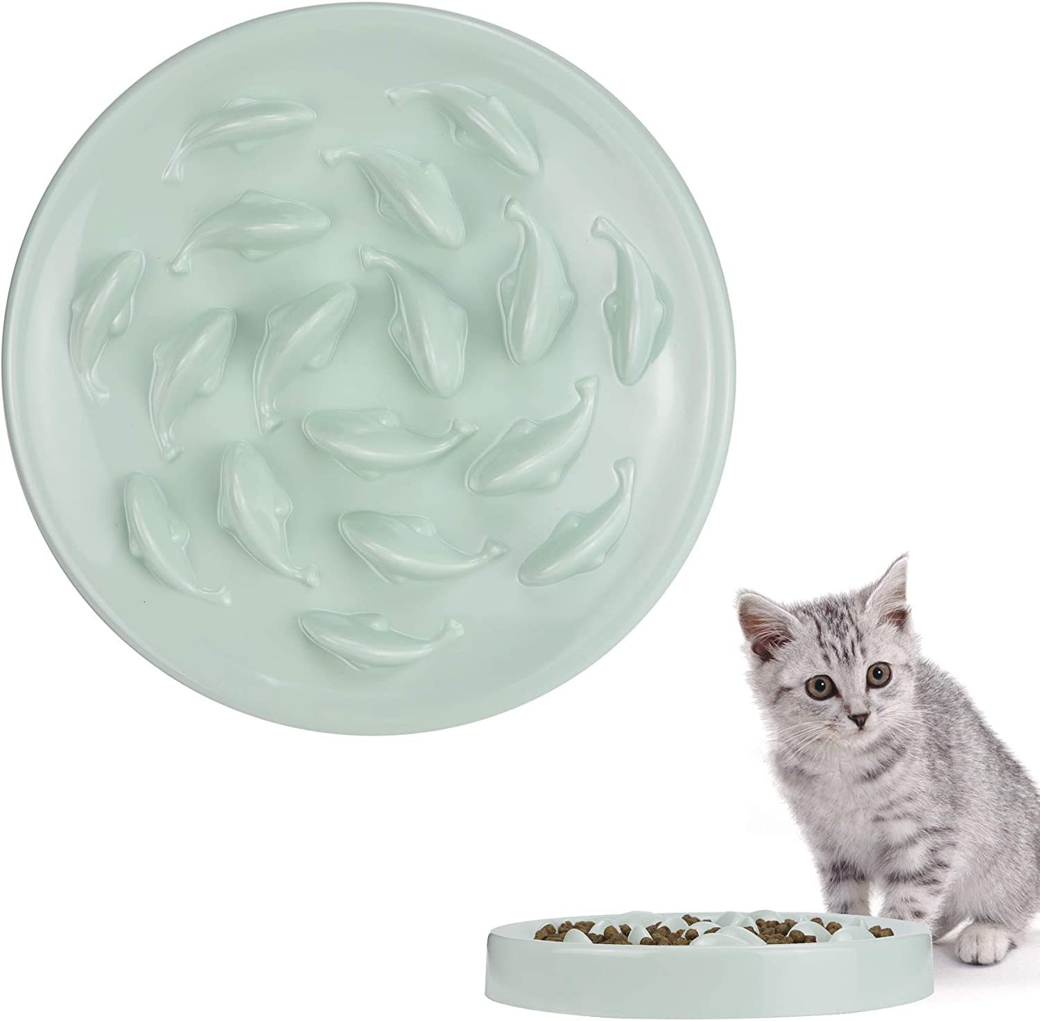 Philbinden Slow Feeder for Cats and Small Dogs,Fish Pool Design Puzzle Cat Bowl Cat Bowl to Slow Down Eating Against Bloat (Melamine Food Grade Material Green and Easy to Clean)