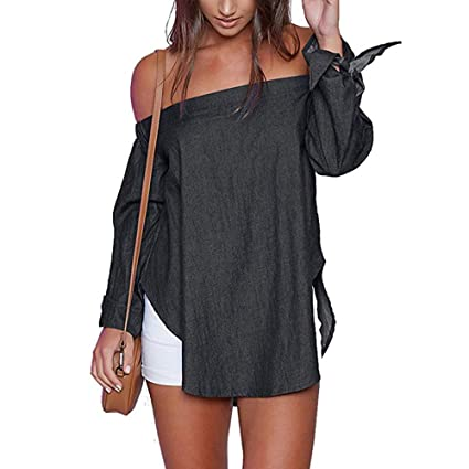 bba594f1b44a5c Amazon.com  Jiayit Women s Blouse Casual Off Shoulder Long Sleeve Split Hem  T-Shirt Top Blouse (2XL