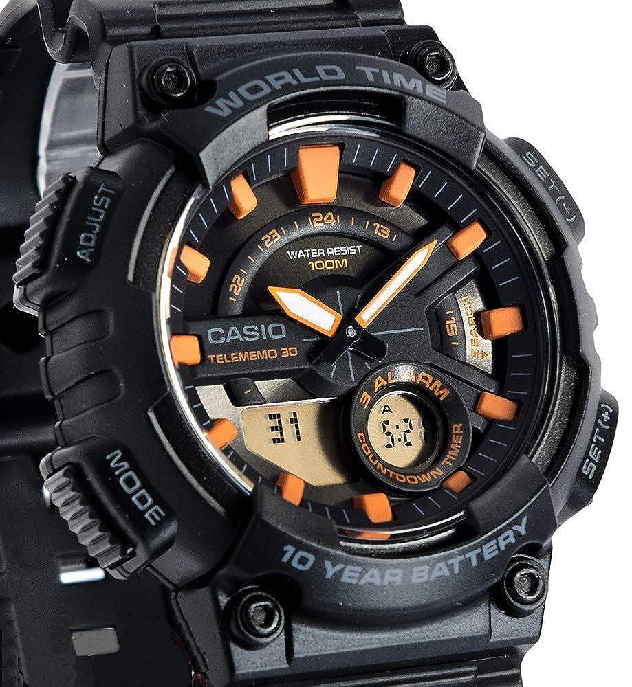 Casio Reloj Analogico-Digital para Hombre de Cuarzo con Correa en Resina AEQ-110W-1A2VEF: Amazon.es: Relojes