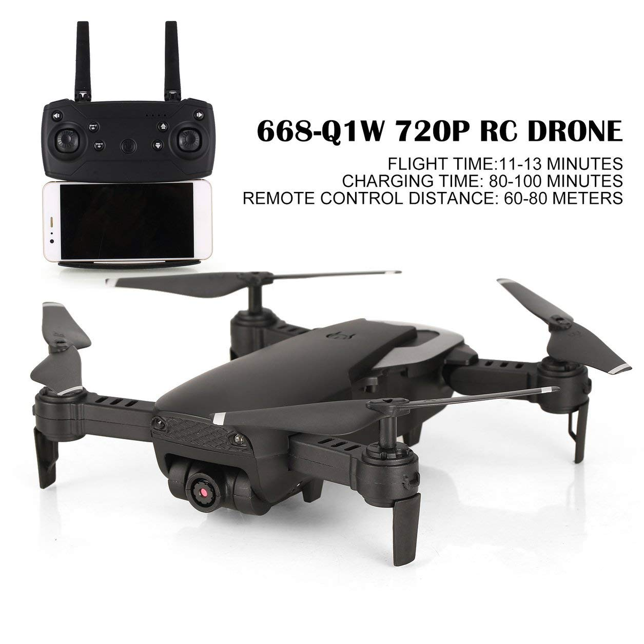 Dailyinshop 668-Q1W 720P RC Drone Quadcopter mit HD-Kamera Altitude Hold Hubschrauber
