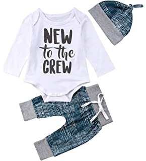 c33d4c59a 3 pcs Newborn Baby Boy Clothes New to The Crew Letter Print Romper+Long  Pants