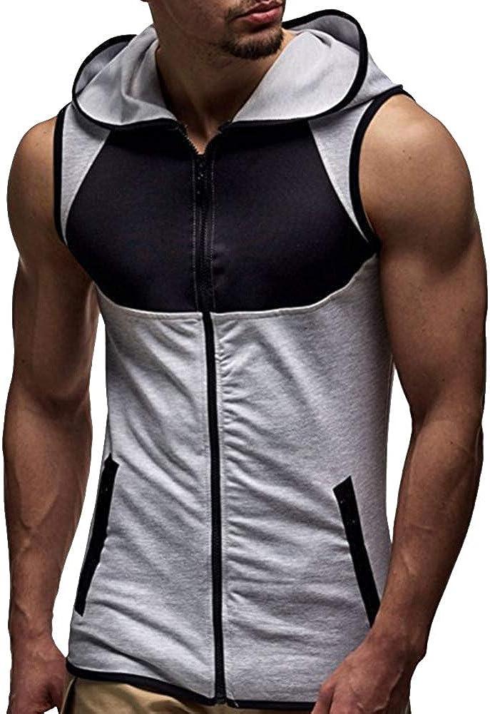 Felpe con Zip Smanicata da Uomo Abbigliamento Palestra T Shirt Slim Fit