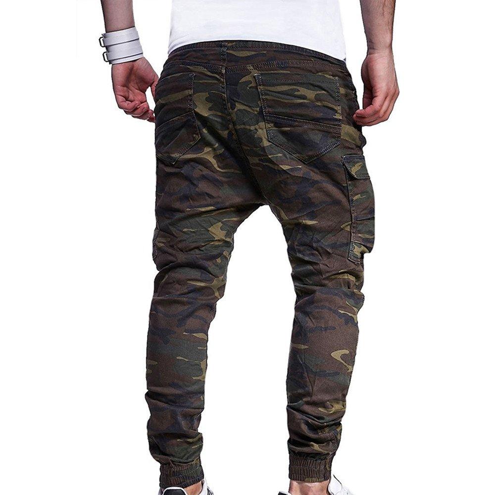 309950b65308d Moonuy Homme Sexy Casual Baggy Sarouel Pantalon Ceintures Sport Camouflage  décontractées Pantalon de survêtement Sweatpants Elastique Gym Drawstring  ...