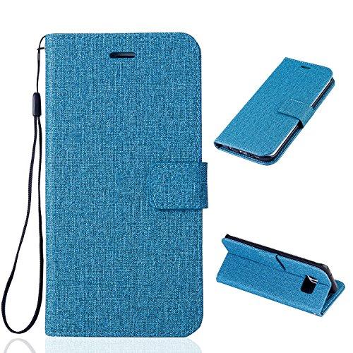 Funda Galaxy S7 Edge , Bolso Estilo Book para Samsung Galaxy S7 Edge de Diseño Tela de Algodón E-Lush Flip Cartera de PU de Alta Calidad Sencillo Caja con TPU Silicona Carcasa Interna Suave [Ranura pa Azul cielo
