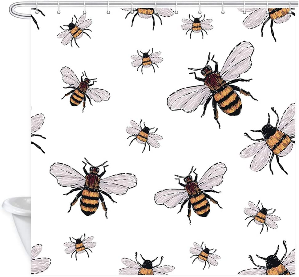 JAWO Happy Bee Shower Curtain, Embroidery Big Honey Bee and Small Funny Bee, Polyester Fabric Bath Curtains Set with Hooks 69W X 70L Inches