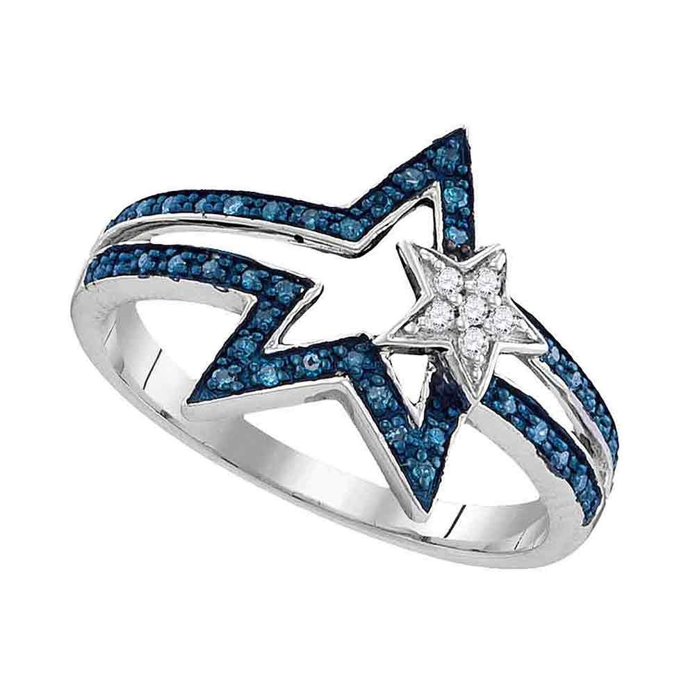 Blue Diamond Star Ring Sterling Silver Two Stars Band Open Design Fashion Style Polished Fancy 1/6 ctw