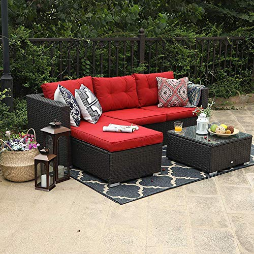 PHI VILLA 3 Piece New Outdoor Furniture Sectional Sofa Patio Set Upgrade Rattan Wicker, Red (For New Looking Sofa A Set)