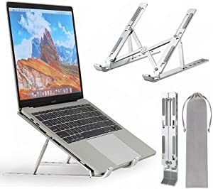 Neekor Portable Laptop Stand, Aluminium Alloy Adjustable Height Laptop Computer Stands, Ergonomic Foldable Desktop Holder,Ventilated Ultra-Thin Bracket for All Laptops and Ipad (Silver)