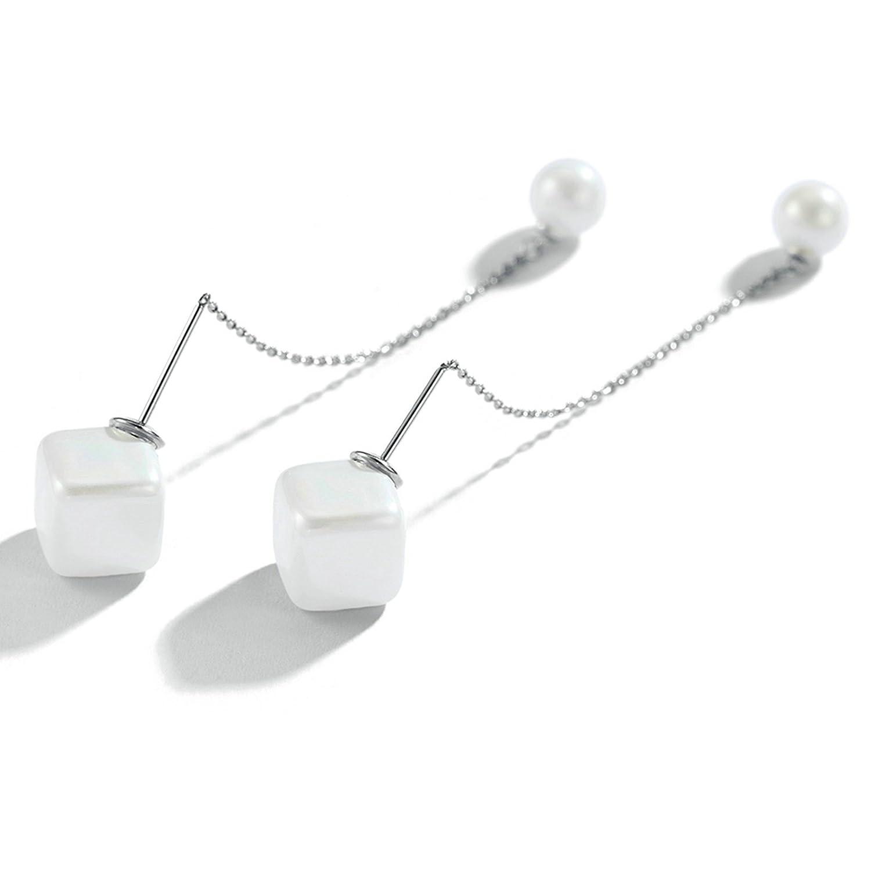 Adisaer 18k Gold Plated Dangle Earrings Daily Wear for Girls Silver White Pearl Earrings Square Dangle