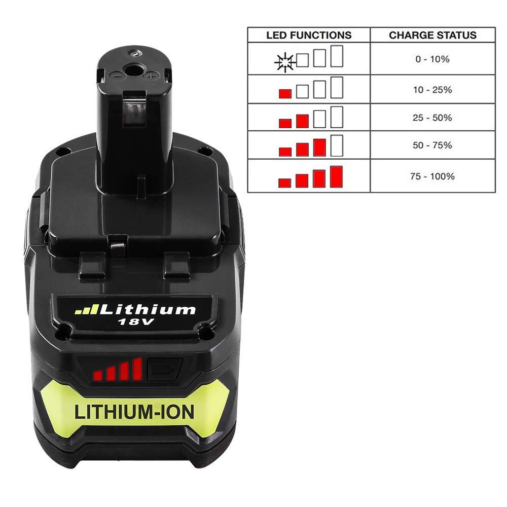 P108 RB18L40 RB18L25 RB18L15 RB18L13 P108 P107 P122 P104 P105 P102 P103 Outils compacts sans fil Hochstern RB18L50 18V 5,0Ah Lithium-ion Batterie de Remplacement pour Ryobi One