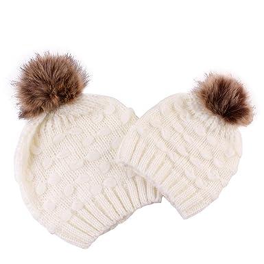 Sunenjoy Maman et Bébé Tricoté Chapeau Chaud Double Laine Unisexe Garçon  Fille Bonnet en Crochet Pompon df70fa0693a