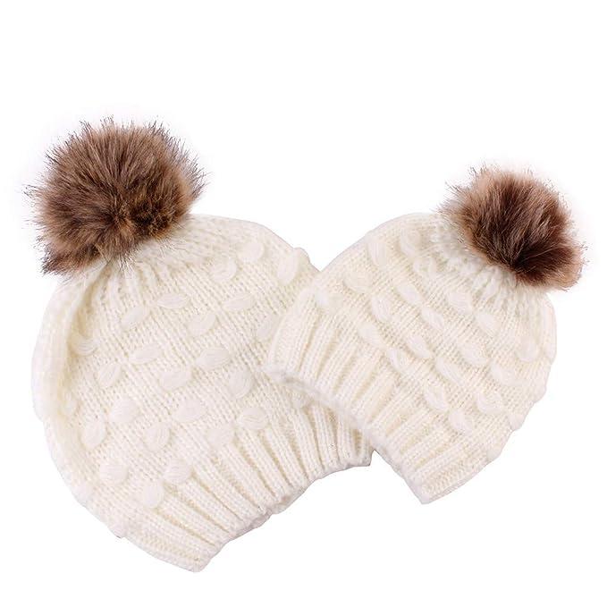Topgrowth 2Pcs Cappello Bambino Donna Palla di Pelo Maglieria Cappello da  Orlo Caldo Cappelli Invernali Berretto  Amazon.it  Abbigliamento c1022d9b1618