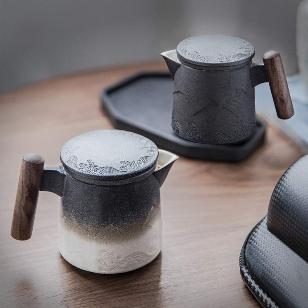 DeahuaYao Ceramic black mug tea pot with Wooden handle in 2 Colors with Tea Strainer (Black)