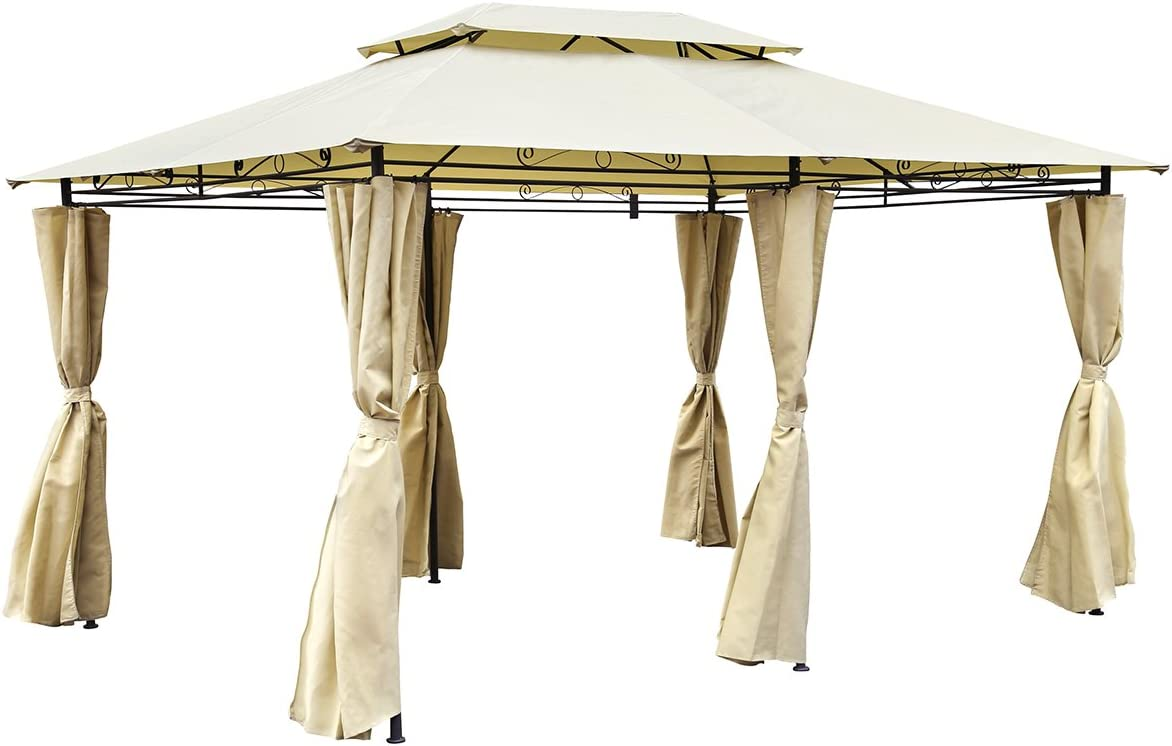 Charles Bentley Kiosko Carpa en Beige Inoxidable Con Cortinas la ...