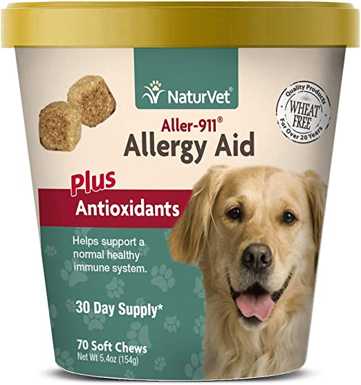 NaturVet – Aller-911 Allergy Aid Plus Antioxidants – 70 Soft Chews | Supports Immune System, Skin Moisture & Respiratory Health | Enhanced With Omegas, DHA & EPA | For Dogs & Cats