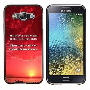 KLONGSHOP // Cubierta de piel con cierre a presión Shell trasero duro de goma Protección Caso - Hoy Mañana Momento hacer cita - Samsung Galaxy E5 E500 //